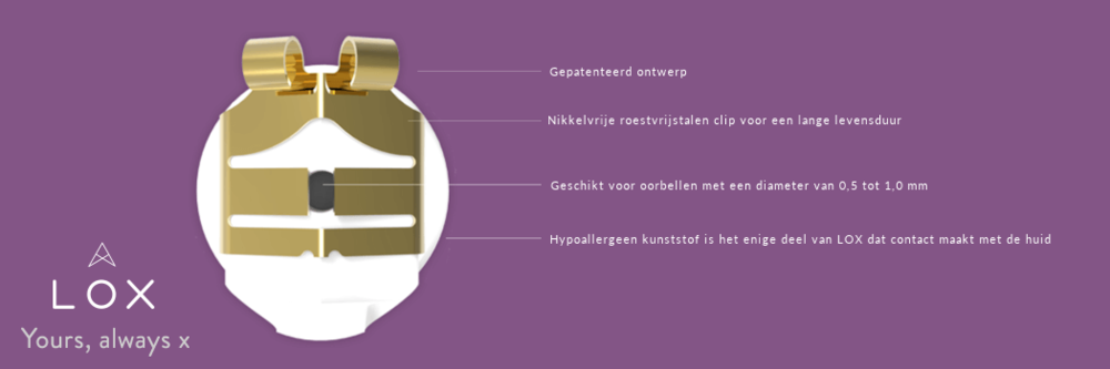 LOX - gepatenteerde sluiting voor oorbellen