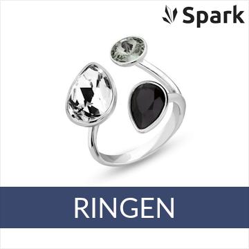 Spark - zilveren ringen met Swarovski