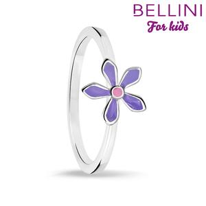 Bellini 579.007 - Zilveren Bellini ring met paars emaille bloem